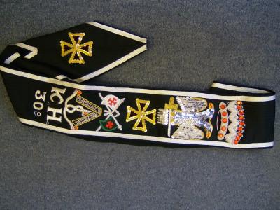 30th Degree Set - Hand embroidered sash, Collarette & Jewel