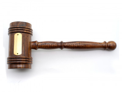 Lodge Size Gavel with Engravable Brass Plate