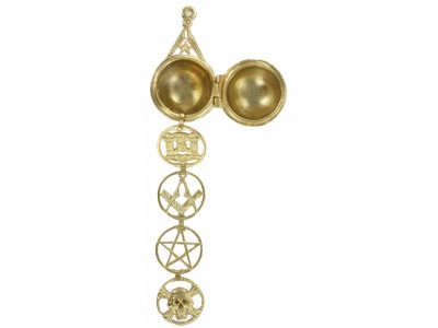 Rare Freemasonry Masonic Ladder Orb -  Gold Plated Solid Silver