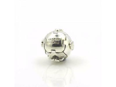 Handmade Masonic Orb Fob Ball Cross Pendant -  Solid Silver - Medium Size