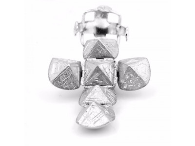Handmade Masonic Orb Fob Ball Cross Pendant -  Solid Silver - Large Size