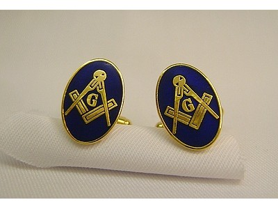 Square and Compass Cufflink Oval