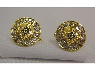 Rhinestone Square and compass cufflinks gold