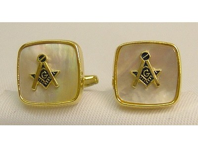 Square and Compass Cufflinks Mother of Pearl