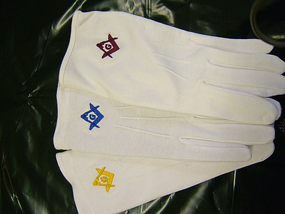 Standard White Gloves with embroidery