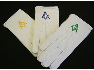 Masonic Gloves - Embroidered with SC&G