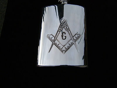 Masonic Hip Flask in Pewter  6 oz with Square Compass and G  engraved