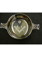 Freemasons Masonic pewter Quaich ENGRAVED SQUARE COMPASS & G- with Celtic handles with option to Engrave