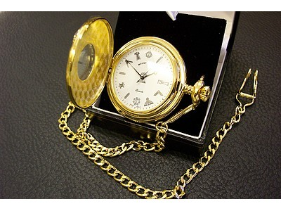 Free Masons Masonic Pocket watch with Tools on the Dial - Masonic Gold Plated Quartz Half Hunter Pocket Watch