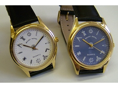 Freemasons Masonic wristwatch with masonic tools on the dial - White face - Gents Masonic Gold Plated Blue Face Quartz Watch