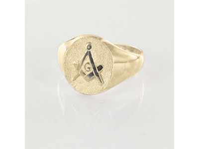 Oval Head Masonic Signet Ring Gold Plated– Square & Compass / Seal - With G