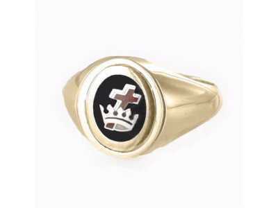 Gold Royal Preceptory Masonic Ring- Black With Reversible Head - 9ct Gold