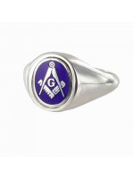 Masonic Ring Blue Reversible Square and Compass with G - Solid Silver