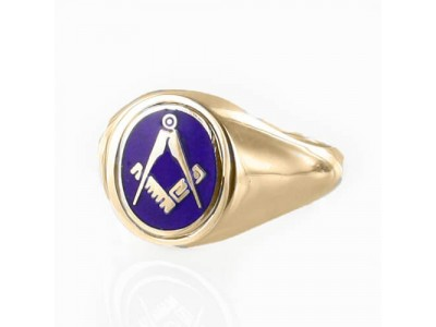 Masonic Ring Blue Reversible Square and Compass With G Gold Plated Solid Silver