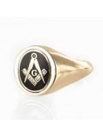 Masonic Ring Black Reversible Square and Compass with G Hallmarked 9ct Gold