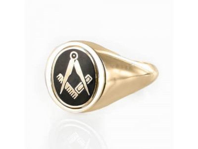Masonic Ring Black Reversible Square and Compass  Gold Plated Solid Silver