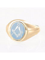 Masonic Ring Light Blue Square and Compass  with Reversible Head - Gold Plated Solid Silver