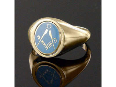Masonic Ring Light Blue Square and Compass  with Reversible Head - 9ct Gold