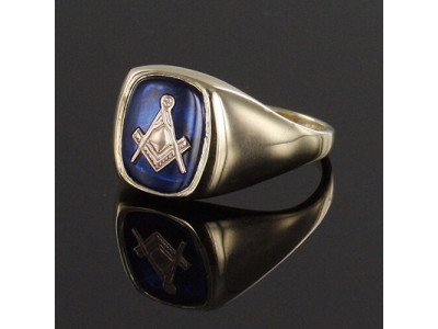 Masonic Ring 9ct Gold Synthetic Sapphire Square And Compass  for Freemasons