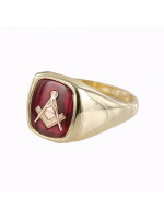 Masonic Ring 9ct Gold Synthetic Ruby Square and Compass for Freemasons