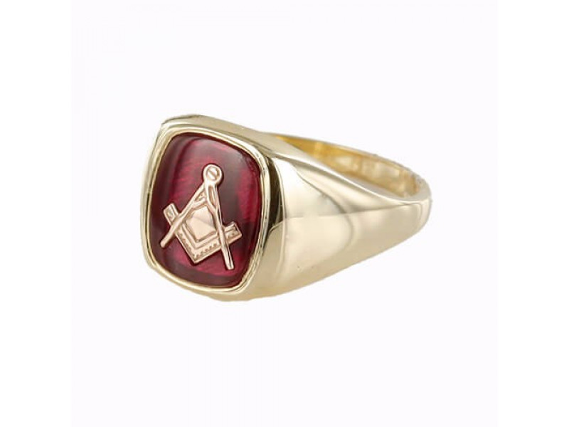 Masonic Ring 9ct Gold Synthetic Ruby Square And Compass