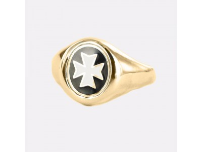 Masonic Ring Gold Plated Knights of Malta - Fixed Head