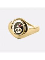 Gold Royal Preceptory Masonic Ring- Black With Fixed Head - 9ct Gold