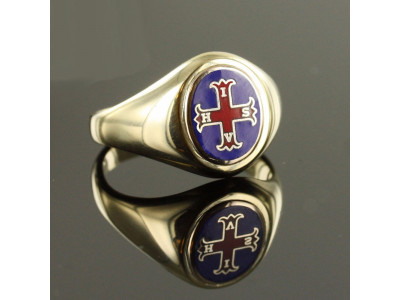 Red Cross of Constantine Masonic Ring - Blue With Fixed Head - 9ct Gold