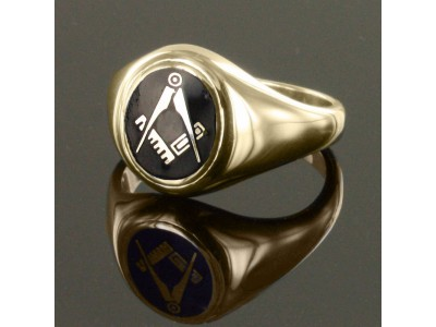 Gold Plated Masonic Ring with Black Enamel Square And Compass