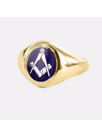 Masonic Ring Blue Square and Compass  with Fixed Head - 9ct Gold
