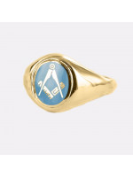 Masonic Ring Light Blue Square and Compass  with Fixed Head - 9ct Gold