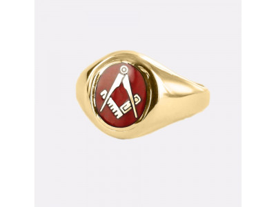 Oval Shape Square And Compass Masonic Ring in Red With Fixed Head - 9ct Gold