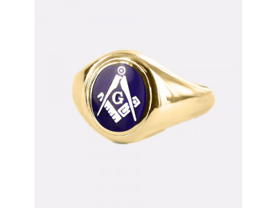 Masonic Ring Blue Square and Compass With G - Fixed Head - 9ct Gold