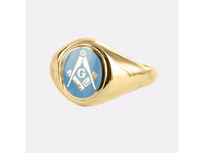 Masonic Ring Light Blue Square and Compass With G - Fixed Head - 9ct Gold