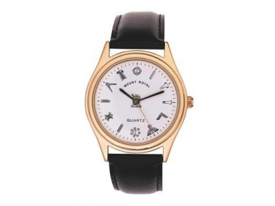 Freemasons Masonic wristwatch with masonic tools on the dial - White face - Gents Masonic Gold Plated Face Quartz Watch