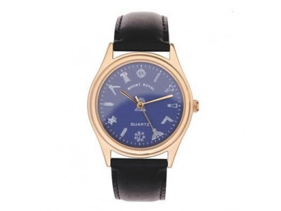 Freemasons Masonic wristwatch with masonic tools on the dial - Blue face - Gents Masonic Gold Plated Blue Face Quartz Watch