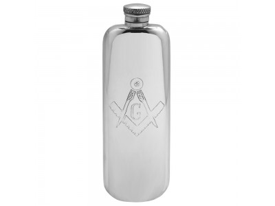 Masonic Hip Flask in Pewter Top Pocket Flask 3 oz