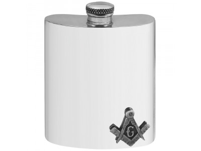 Pewter Masonic Hip Flask with Square Compass and G badge