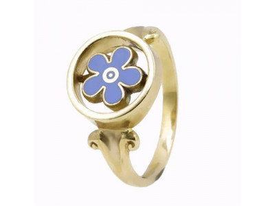 Masonic Ring 9ct Yellow Gold Forget Me Not