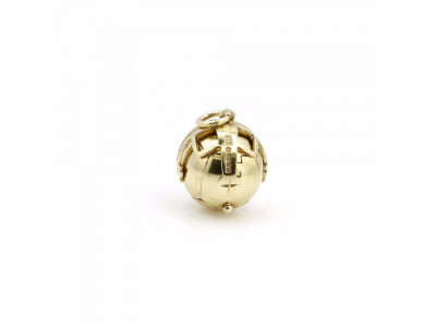 Handmade Masonic Orb Fob Ball Cross Pendant -  9ct Gold -