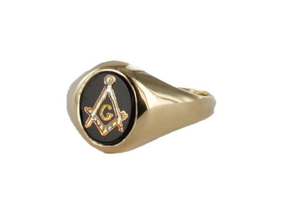 Masonic Ring - Onyx Set - Square and Compass With G-  Gold Plated Solid Silver