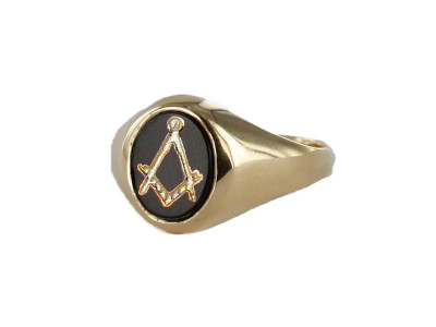 Masonic Ring - Onyx Set - Square and Compass Hallmarked 9ct Gold