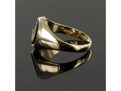 Masonic Ring - Onyx Set - Square and Compass Hallmarked 9ct Gold
