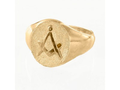 Oval Head Masonic Signet Ring Gold Plated– Square & Compass / Seal