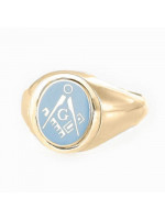 Masonic Ring Light Blue Square and Compass With G - Reversible Head - 9ct Gold