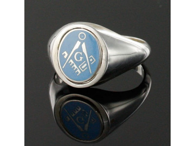 Masonic Ring Light Blue Square and Compass With G - Reversible Head -  Solid Silver