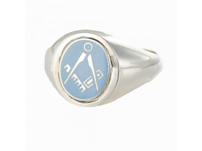 Masonic Ring Light Blue Square and Compass - Reversible Head -  Solid Silver