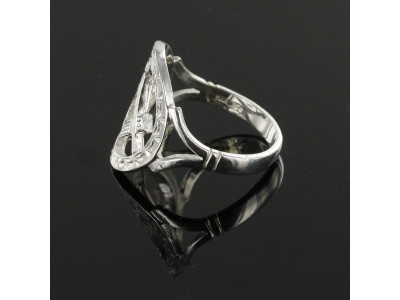 Masonic Ring - Large Silver Pierced Design Square and Compass Masonic Ring