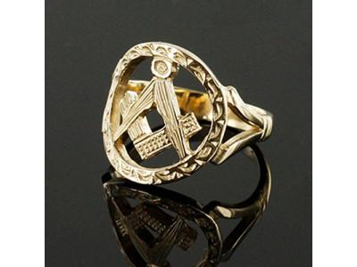 Masonic Ring - Large Gold Pierced Design Square and Compass Masonic Ring