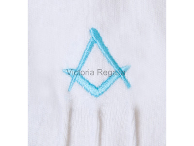 Cotton Gloves with Sky Blue Square Compass - Masonic